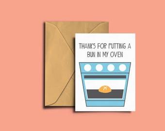 Pregnancy Announcement/Thanks Card - Bun In My Oven