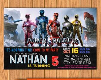 Power Rangers Invitation, Power Rangers Birthday, Power Rangers Party, Superhero Party