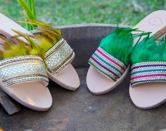 Leather Sandal for Women,Sandals with Feathers,Boho Sandals,Embellished Sandals,Slip on Sandals,Womens Boho Shoes,Greek Leather Sandals