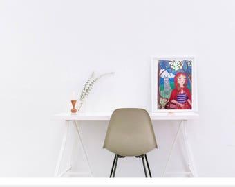 Red riding hood, fairy tale art, fairy tale print, girls room decor, girls room wall decor, girls room wall art, girls room art, riding hood