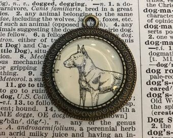 Handmade Vintage Dictionary Dog Necklace - Bull Terrier