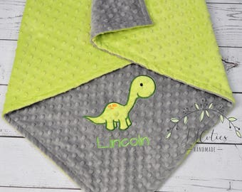 Dinosaur Baby Blanket-Personalized Brontosaurus Dino Minky blanket-Personalized Dinosaur Minky Blanket-Minky baby blanket-Dino Minky Blanket