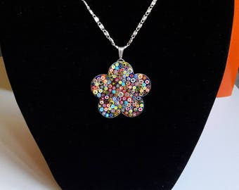 Necklace with flower pendant Murrine mosaic