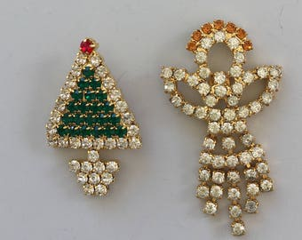 Vintage 2pc petit Christmas pins/brooches