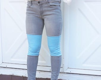 Colorblock Jeans - Blue and Grey Size 5
