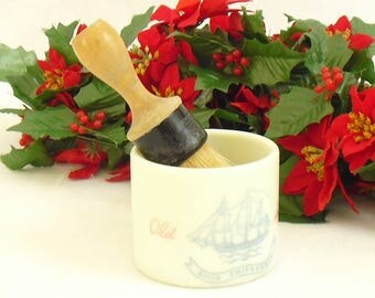 Vintage Old Spice Shaving Mug with Rubberset Brush, Ship Friendship, Early American, Shulton, Nautical Soap Holder with Brush, 1950s Display