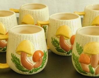 6 Vintage Magic Mushroom Mugs, Arnelu0027s, Matching Set, Ceramic, Novelty  1970s Hippie