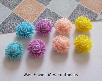 8 cabochons resin flowers 13mm base 8mm approx Mix R16