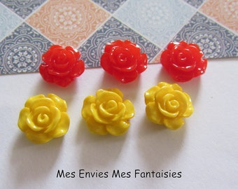 6 cabochons resin flowers 12mm base 10mm about red and yellow R30