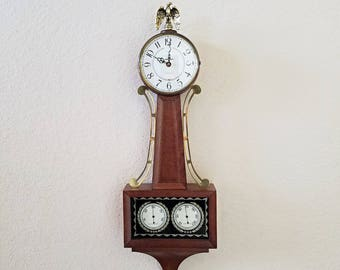 """Vintage Westclox Golden Eagle  """"Quartzmatic"""" Early American Banjo Style Wall Clock with Weather Instruments - Professionally Restored"""