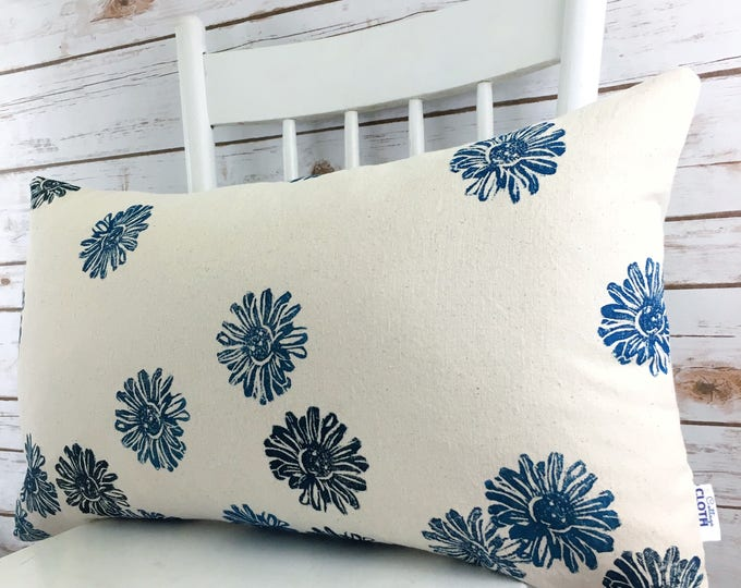 Ecoluxury pillow organic cotton cover handprinted one of a kind blue floral lumbar pillow cover modern farmhouse country chic gift for her