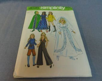 "Doll Clothes, 17.5"" Teen Dolls, Cut and Complete, Simplicity 9698, 1971 Wedding Dress, Cloak, 70's Mod Clothes"