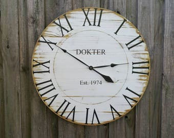 """30"""" Large Rustic Farmhouse Reclaimed Pallet Wood Clock, Weathered Distressed White"""