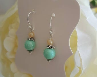 Handmade pretty soft pastel green pearlescent earrings