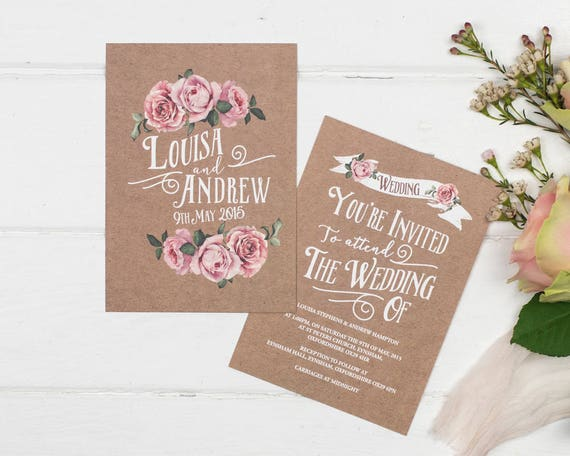 Brown Kraft Rustic Rose Wedding Invitation Set Sample