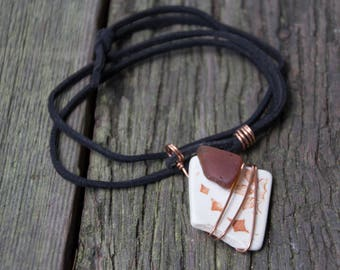 Handmade Found Salvaged Sea Glass Pottery Pendant Suede Cord Necklace OOAK Refashion Upcycle Repurpose Eco Boho Statement Brown Cream Copper