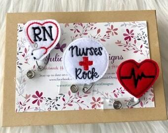 3 RN Badge Reels, Badge Reel, Badge Holder, Retractable Badge, ID Badge Holder, Nurse Badge Reel, Medical Badge Reel, Teacher Badge Reel