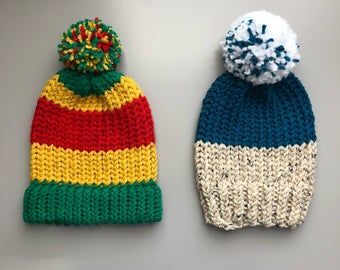 Toddler boys knitted hats. Size 6-12 months hand knitted, pom pom, trendy boys hats. Rasta hat.