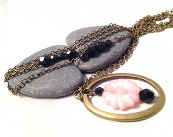 Pink Flower necklace in black - Bronze necklace
