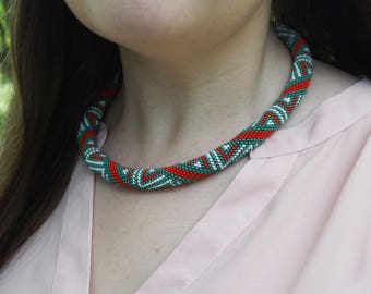 celtic necklace dainty geometric necklace gift rope necklace green red necklace tribal necklace  ladies bead necklace woven african necklace