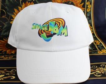 New Space Jam snapback, white 1990s basketball, vintage hip hop track cap, blue 90s hip hop clothing, 1990s gangsta rap jersey, OG NWT