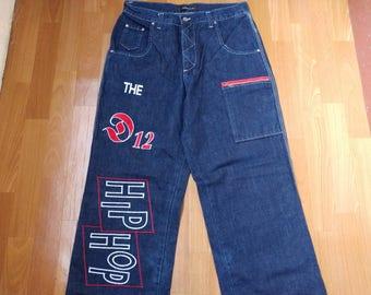 D12 jeans, vintage baggy jeans, 90s hip-hop clothing, 1990s hip hop shirt, OG, old school, gangsta rap, size W 32