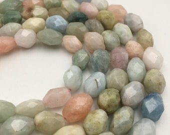"Natural Morganite Faceted Nugget Gemstone Loose Beads Size 13x19mm Approx 15.5"" Long per Strand"