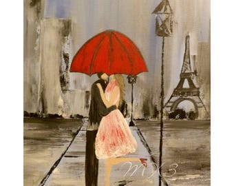 Print of Couple, Couple Kissing, Red Umbrella Print, Couple in Paris, Couple Under Umbrella, Couple in Love, Bedroom Decor, Wedding Gift,