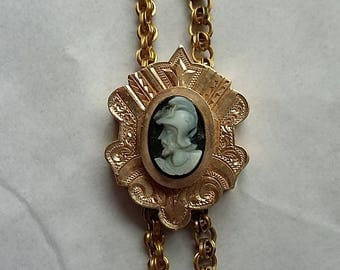 Antique Victorian Watch Chain w/ Decorative Slide Cameo Soldier, Gold Filled