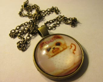 """Bronze Tone Glass Dome Pendant of Little Puppy in Teacup, 1"""""""