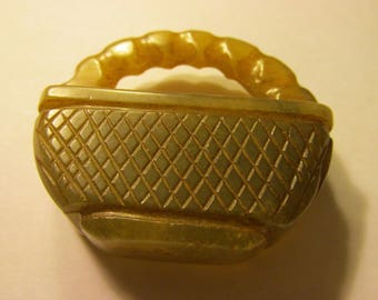 Chinese Old Brown Jade Basket Pendant, 2 1/4""