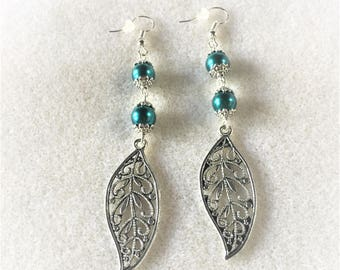 """The silver and blue leaves"" earrings"