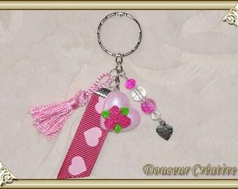Pink flowers key heart 108013