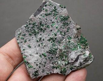 Uvarovite from Russia (green garnet)  2,56 x 2,12 x 0.48''. 1,69 oz