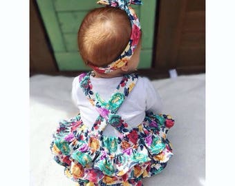 frilly bottom romper / photography prop / birthday outfit / floral handmade Romper / girl outfit