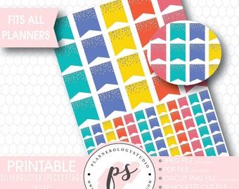 Silver Glitter Specks Flags Printable Planner Stickers   Bliss   JPG/PDF/Silhouette Cut Files