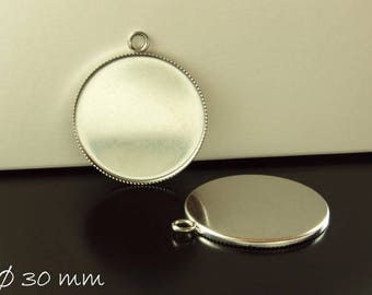 Stainless steel cabochon version 30 mm, silver