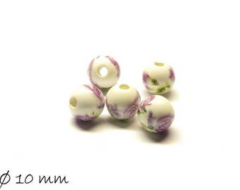 10pcs porcelain beads Ø 10 mm white purple flowers flowers