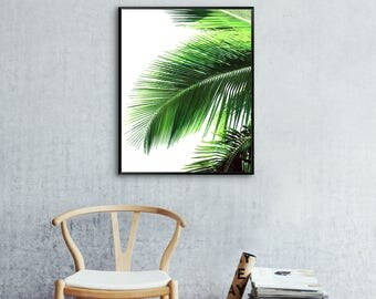 Green Palm Fronds Print, Tropical Wall Art, Green Palm Leaves Print, Palm Leaf, Green Palm Tree Prints