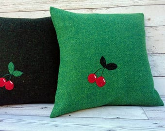Hand Crafted Harris Tweed cherry Cushion cover