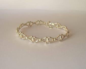 Retro woven silver bracelet 925