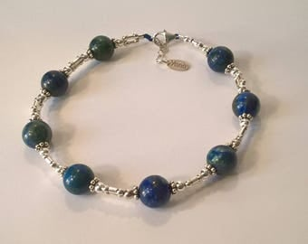 Bracelet fashion link azurite malachite beads