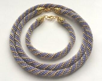 Lavender Beaded Crochet Jewelry Set, Beaded Crochet Rope Necklace and Bracelet