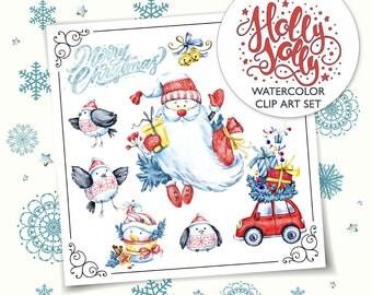 HOLLY JOLLY Christmas Clip Art, Winter Clip Art, Santa Snowman Birds Lettering Clip Art, Watercolor Hand Painted Clip Art, Planner Stickers