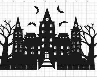 Halloween Haunted Mansion  SVG PDF EPS Dxf & Studio 3 Cut Files