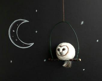 Barn Owl. Felt Barn Owl. Needle Felted Animals. Felted Birds. Wool Owl. Owl Accessory. Owl Decoration. Owl Sculpture. Needle Felting. Owl.