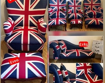 Wonderful Union Jack Chairs, Chaise Longueu0027s U0026 Footstools