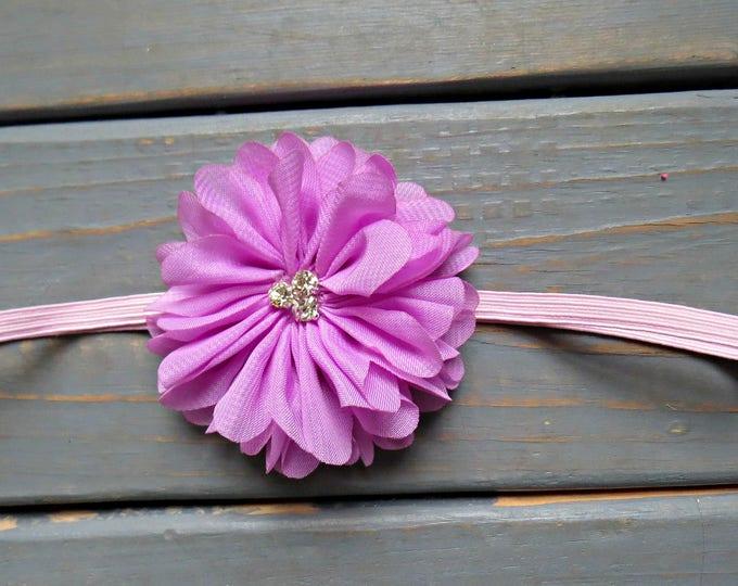 Lavender Flower Headband, Baby Headband, Newborn Headband, Baby Girl Headband, Flower Headband, Newborn Headband, Wedding Headband