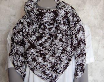 Scarf/shawl knit handmade Heather black and white dot Hawthorn