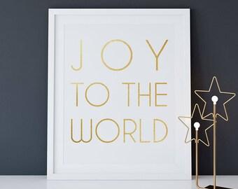 Christmas PRINTABLE Art Joy to the World Print, 16x20 8x10 Christmas Quote Art, Gold Foil White Modern Christmas, Scandinavian Minimalist